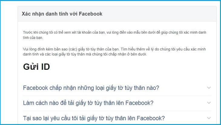 mở tài khoản facebook băng chứng minh thư