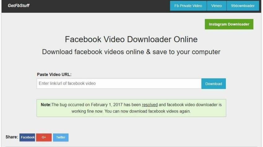 Download video facebook bằng getfbstuff.com